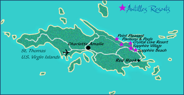 Maps of the US Virgin Islands – Map of St Thomas Virgin Island
