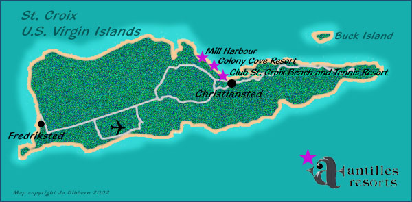 map of St Croix,  US Virgin Islands